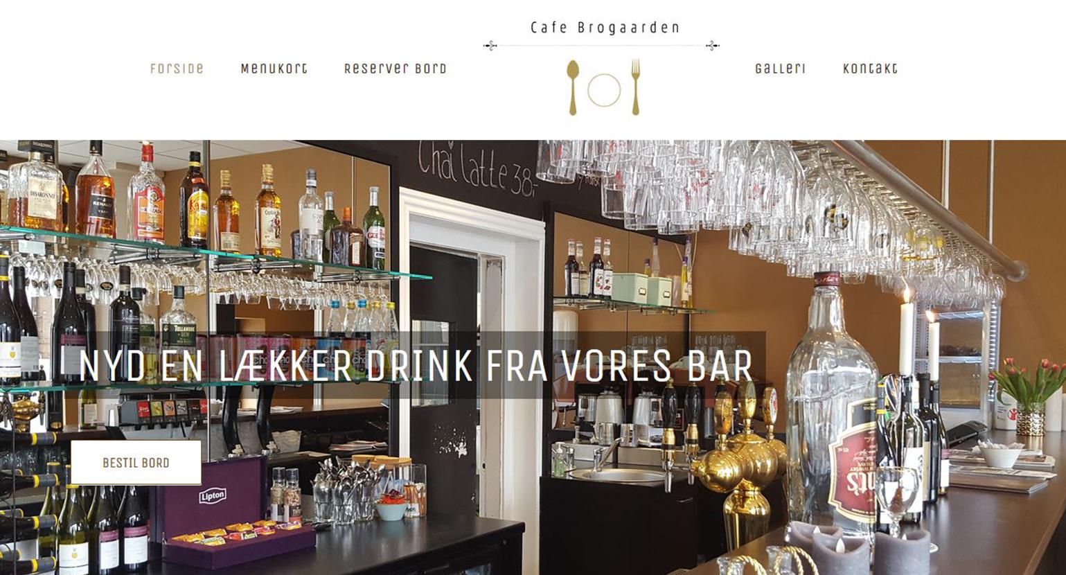 Hjemmeside til Cafe Restaurant Brogaarden