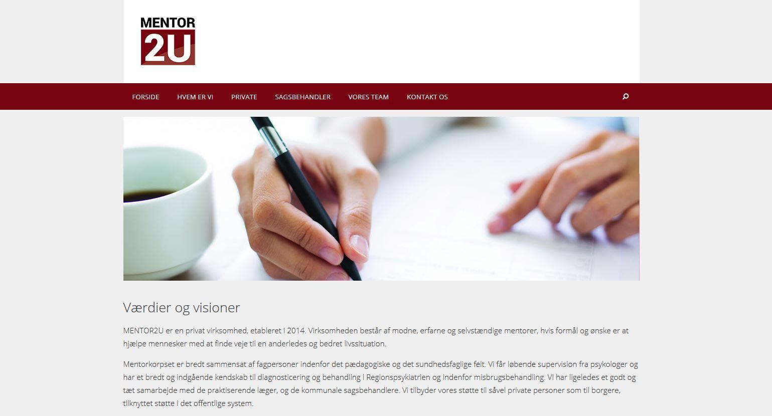 Hjemmeside til MENTOR2U