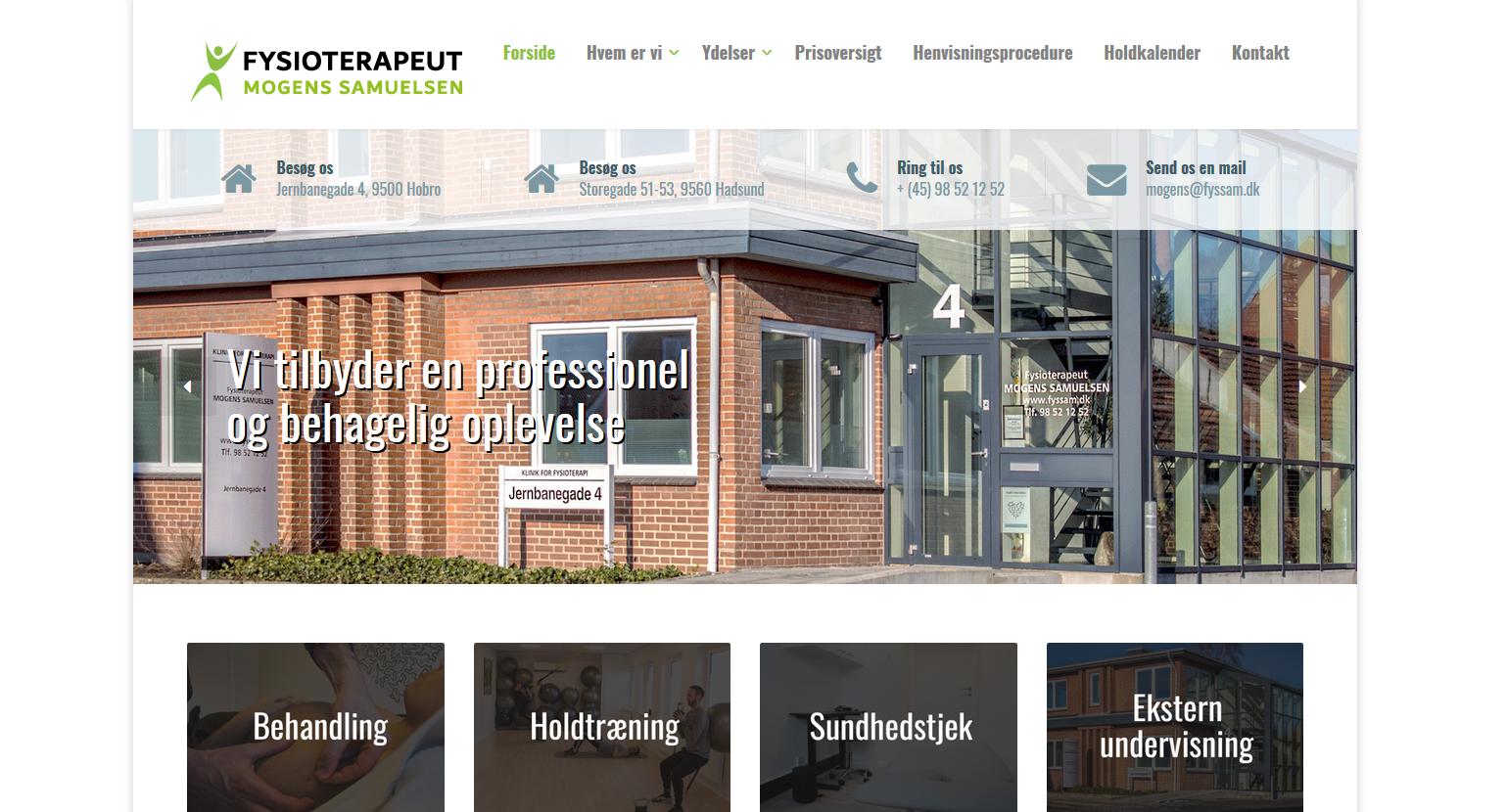 Hjemmeside til Fysioterapeut Mogens Samuelsen