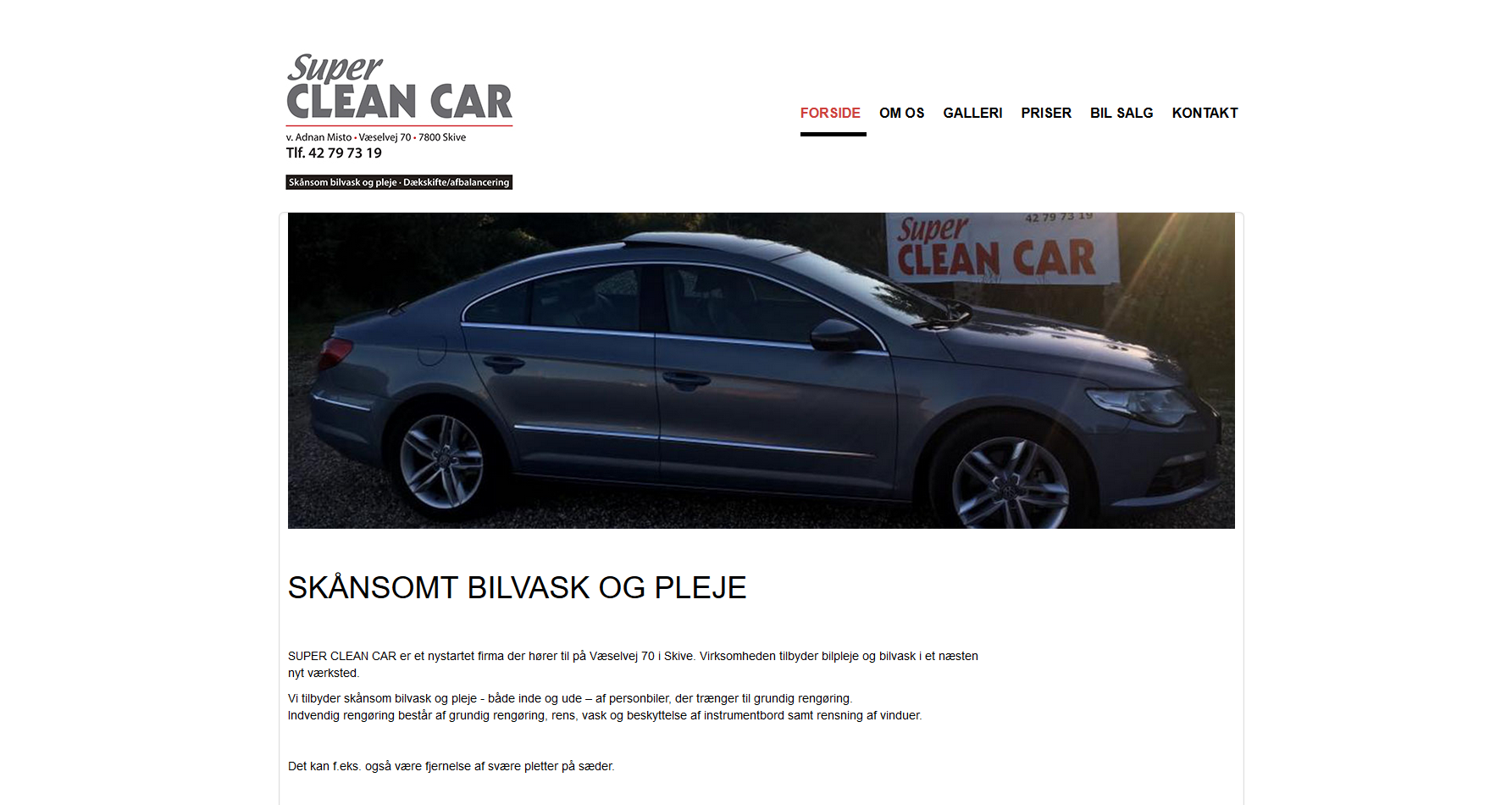 Hjemmeside til Super Clean Car